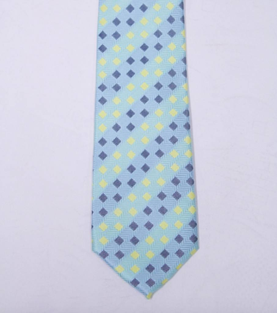Robbins & Brooks Polyester Pocket Tie- Blue, Yellow & Navy Checked Pattern
