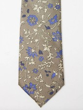 Robbins & Brooks Polyester Pocket Tie- Brown Design with Dark Blue Floral Pattern
