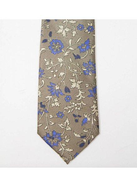 Robbins & Brooks Polyester Pocket Tie- Brown Design with Dark Blue Floral Pattern