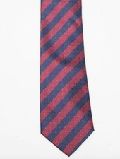 Robbins & Brooks Polyester Pocket Tie- Burgundy & Navy Stripes with Checked Pattern