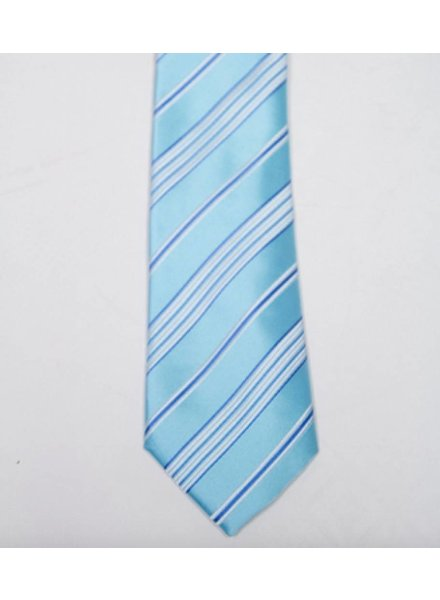 Robbins & Brooks Polyester Pocket Tie- Cyan & Grey Stripes