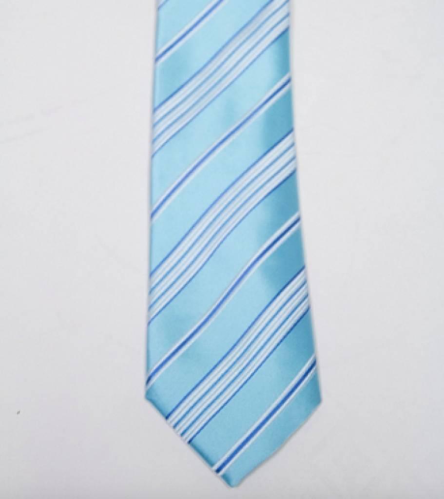 Robbins & Brooks Polyester Pocket Tie- Cyan & Grey Stripes