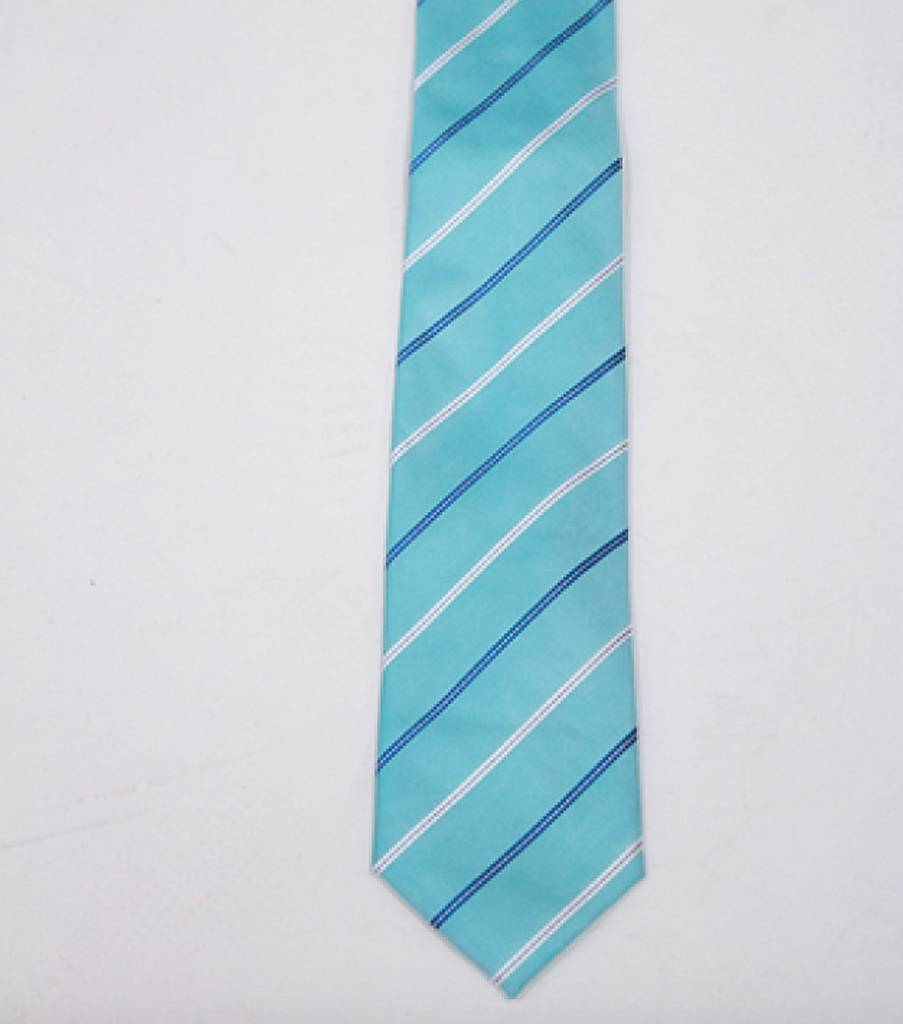 Robbins & Brooks Polyester Pocket Tie- Cyan & White Stripes