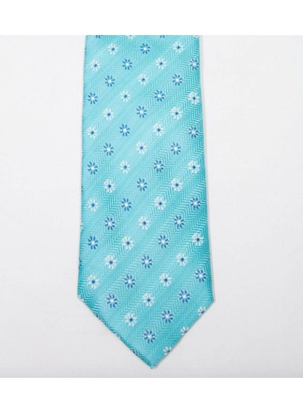 Robbins & Brooks Polyester Pocket Tie- Cyan Design with Small Flower