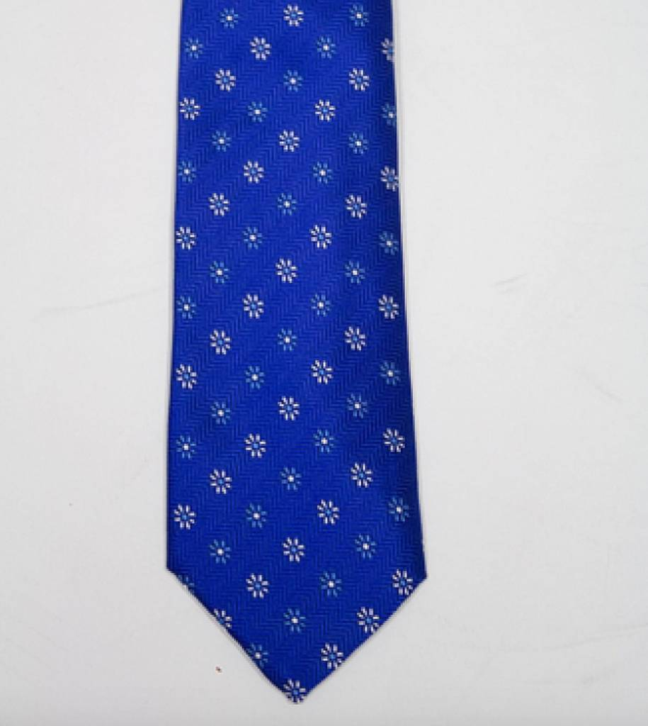 Robbins & Brooks Polyester Pocket Tie- Dark Blue Herringbone Pattern with Little Flower