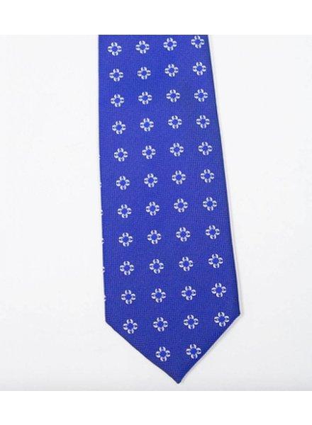 Robbins & Brooks Polyester Pocket Tie- Dark Blue with White Flower