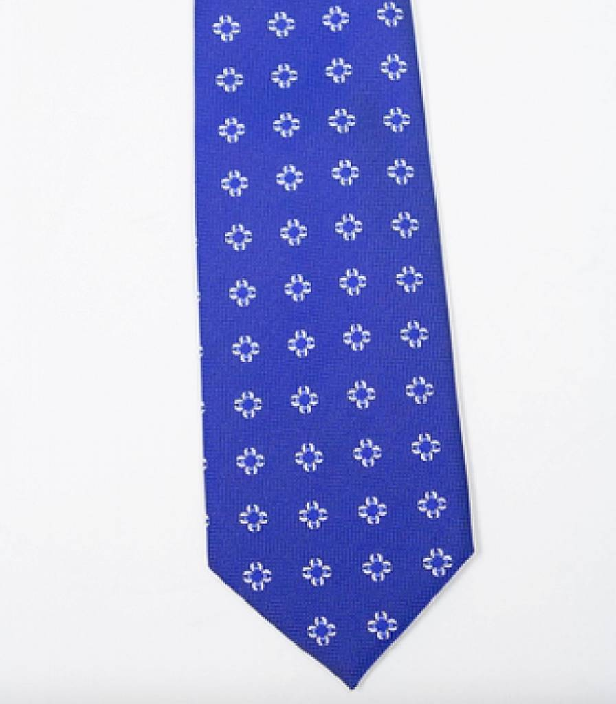 Robbins & Brooks Polyester Pocket Tie- Dark Blue with White Flower