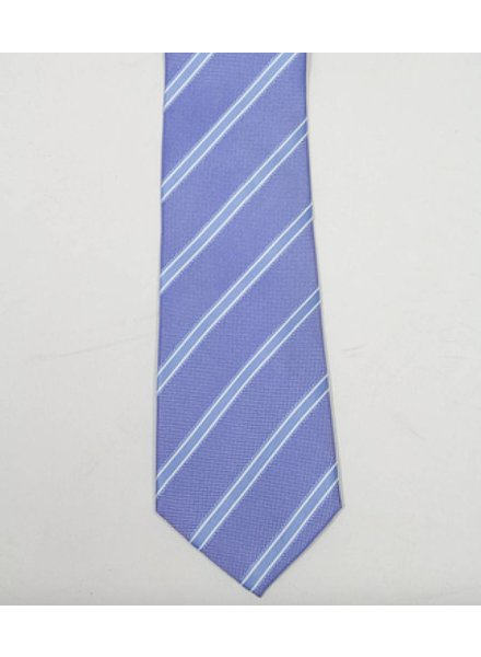 Robbins & Brooks Polyester Pocket Tie- Dark Blue, White & Blue Stripes