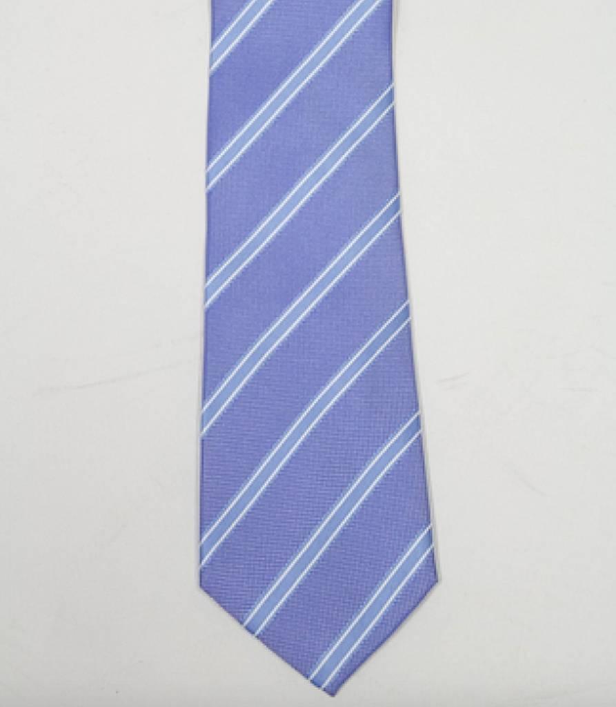Robbins & Brooks Polyester Pocket Tie- Dark Blue, White & Blue Stripes