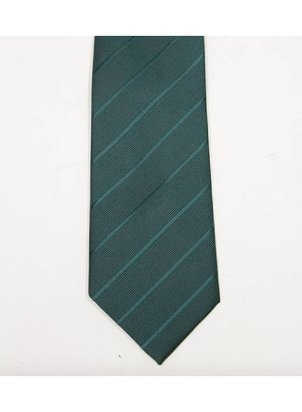 Robbins & Brooks Polyester Pocket Tie- Dark Green Stripes
