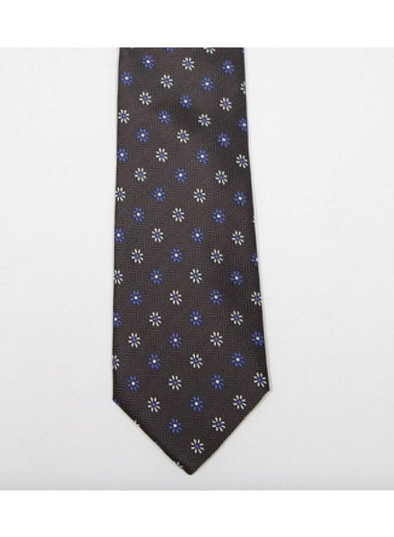 Robbins & Brooks Polyester Pocket Tie- Dark Grey Design with Small Flower