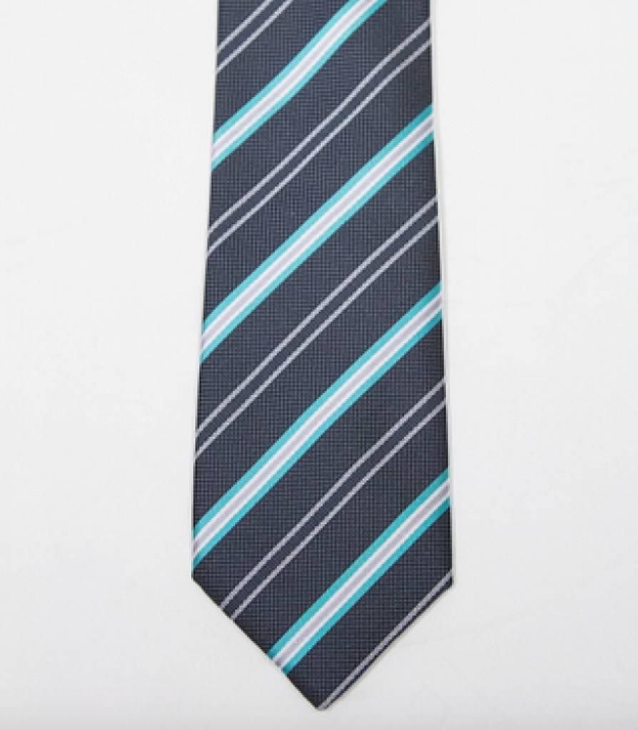 Robbins & Brooks Polyester Pocket Tie- Dark Grey, Green & Light Grey Stripes