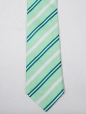 Robbins & Brooks Polyester Pocket Tie- Green, White & Dark Green Stripes