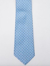 Robbins & Brooks Polyester Pocket Tie- Grey & Cyan Checked Pattern