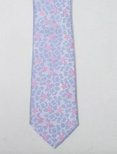 Robbins & Brooks Polyester Pocket Tie- Grey Design with Blue Design & Pink Flower
