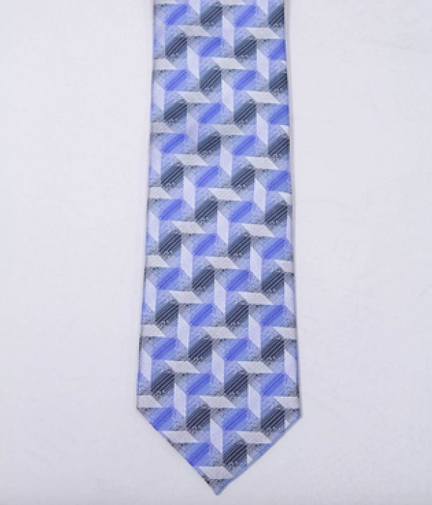 Robbins & Brooks Polyester Pocket Tie- Grey, Blue & Black Checked Pattern