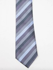 Robbins & Brooks Polyester Pocket Tie- Grey, Blue & Dark Grey Stripes
