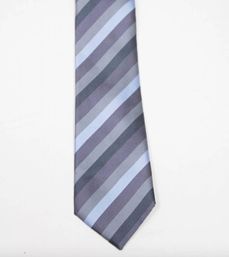 Robbins & Brooks Polyester Pocket Tie- Grey, Blue & Dark Grey Stripes
