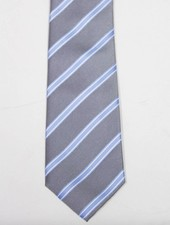 Robbins & Brooks Polyester Pocket Tie- Grey, Blue & White Stripes