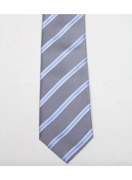 Robbins & Brooks Polyester Pocket Tie- Grey, Blue & White Stripes