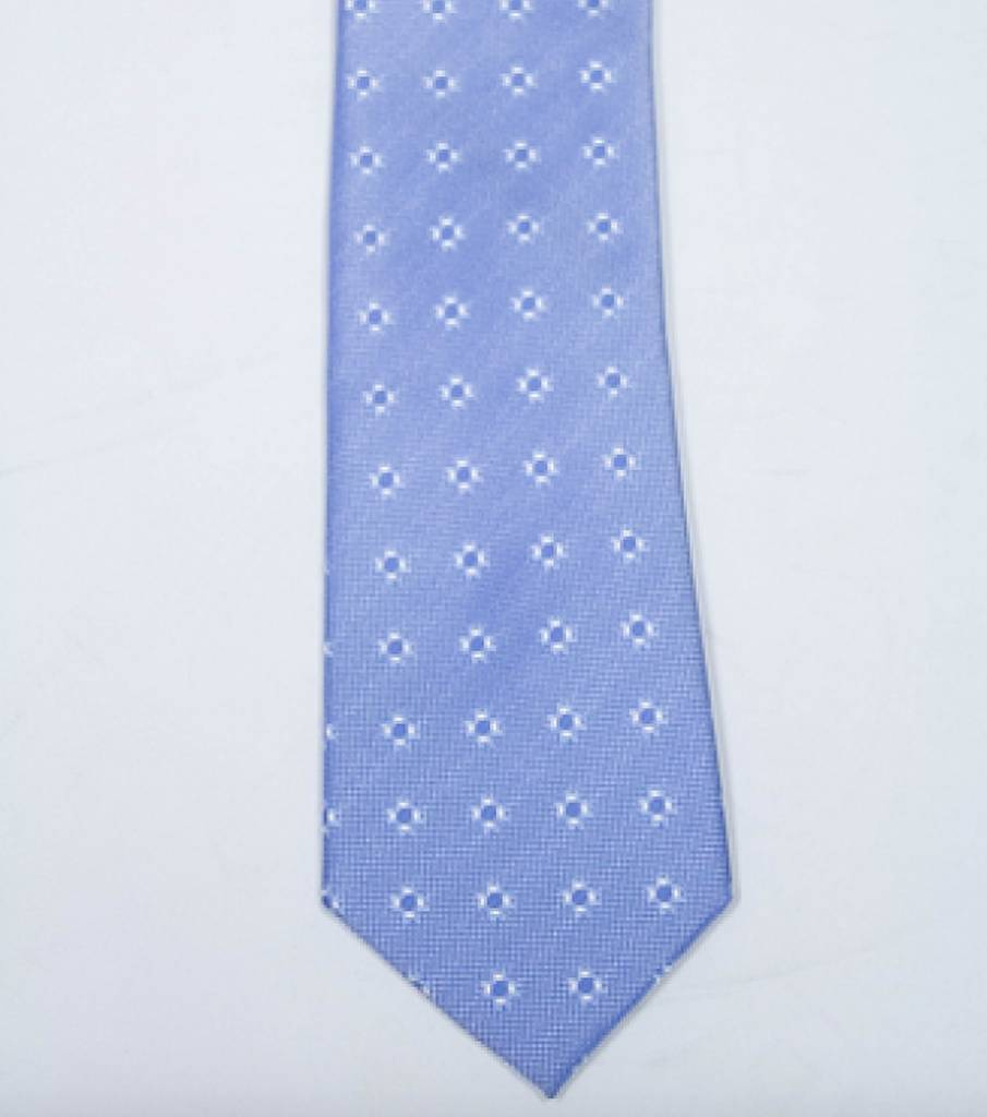 Robbins & Brooks Polyester Pocket Tie- Light Blue with White Flower