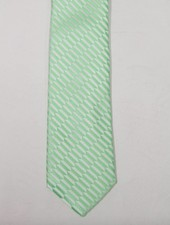 Robbins & Brooks Polyester Pocket Tie- Light Grey Design with Green Pattern