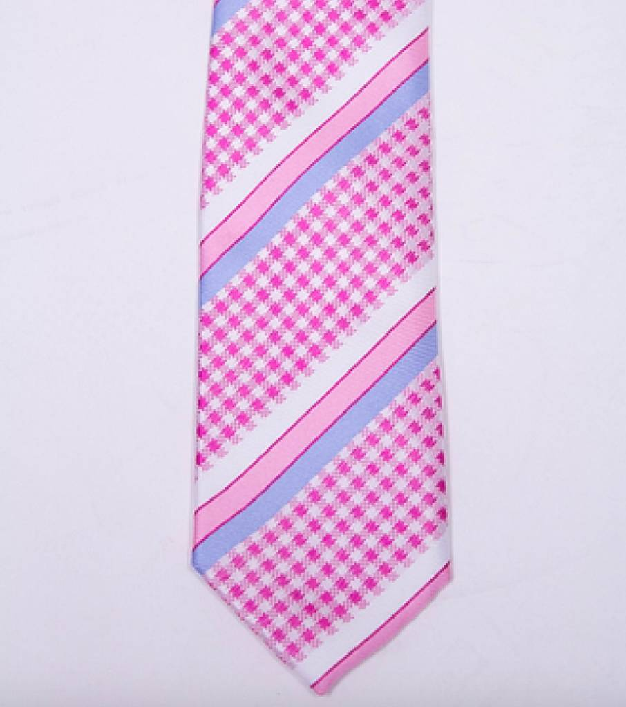 Robbins & Brooks Polyester Pocket Tie- White, Pink & Blue Stripes