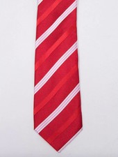 Robbins & Brooks Polyester Pocket Tie- Red Stripes Design