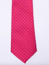 Robbins & Brooks Polyester Pocket Tie- Red Checked Pattern with White Dots