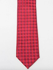 Robbins & Brooks Polyester Pocket Tie- Red & Burgundy Checked Pattern