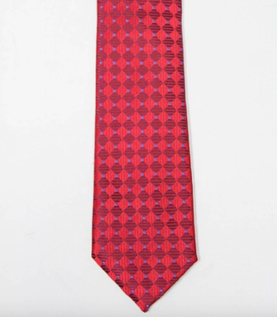 Robbins & Brooks Polyester Pocket Tie- Red & Burgundy Checked Pattern