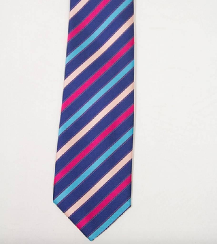 Robbins & Brooks Polyester Pocket Tie- Navy, Plum & Cyan Stripes