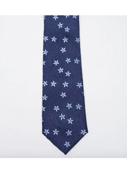 Robbins & Brooks Polyester Pocket Tie- Navy Floral Fabric with Blue Flower