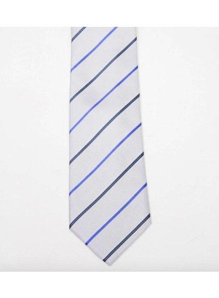 Robbins & Brooks Polyester Pocket Tie- Grey, Dark Blue & Dark Grey Stripes