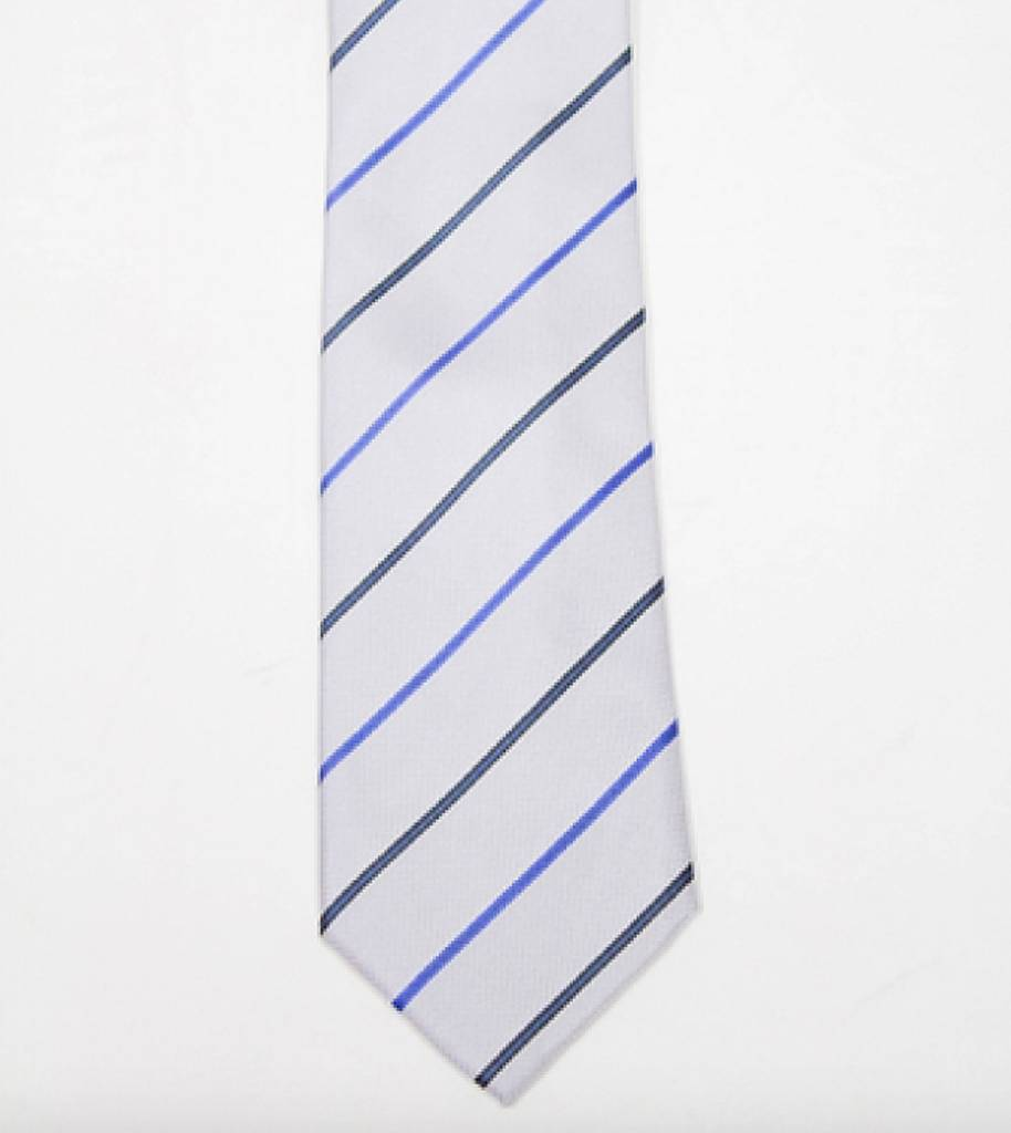 Robbins & Brooks Polyester Pocket Tie- Grey, Dark Blue & Dark Grey Stripes