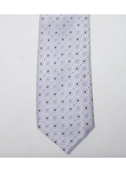 Robbins & Brooks Polyester Pocket Tie- Grey with Flower Pattern