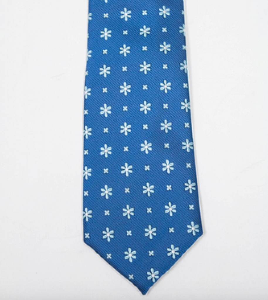 Robbins & Brooks Polyester Pocket Tie- Green/Blue Fabric with Small Flower