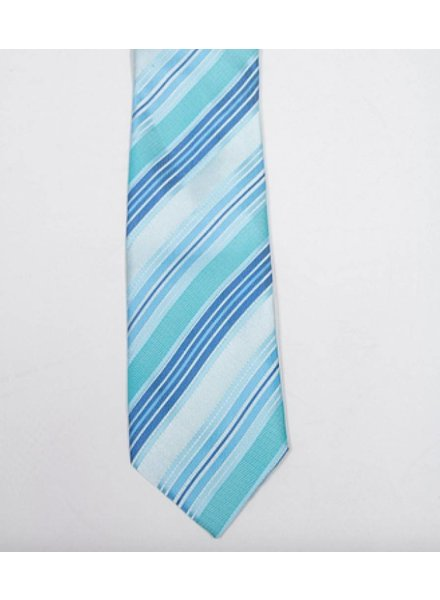 Robbins & Brooks Polyester Pocket Tie- Cyan, Green & Light Blue Stripes