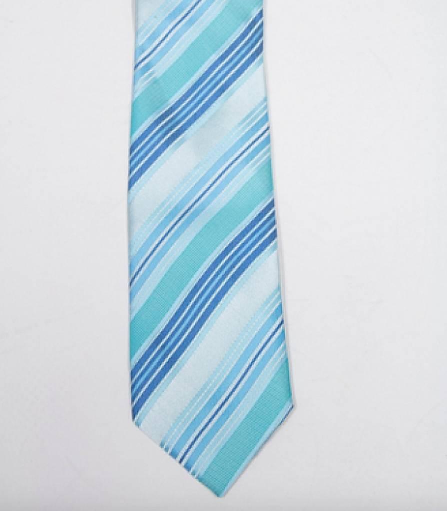 Robbins & Brooks Polyester Pocket Tie- Cyan, Green & Light Blue Stripes