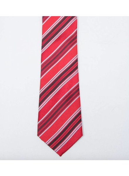 Robbins & Brooks Polyester Pocket Tie- Red, Black & Grey Stripes