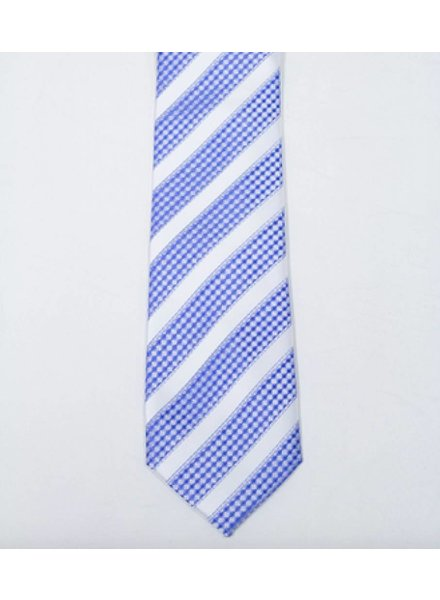 Robbins & Brooks Polyester Pocket Tie- White Stripes with Blue Checked Pattern