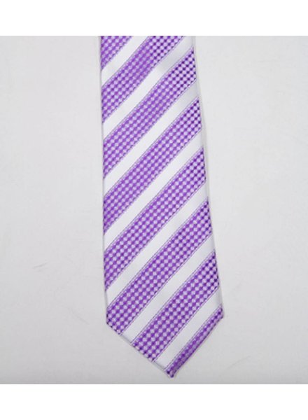 Robbins & Brooks Polyester Pocket Tie- White Stripes with Purple Checked Pattern