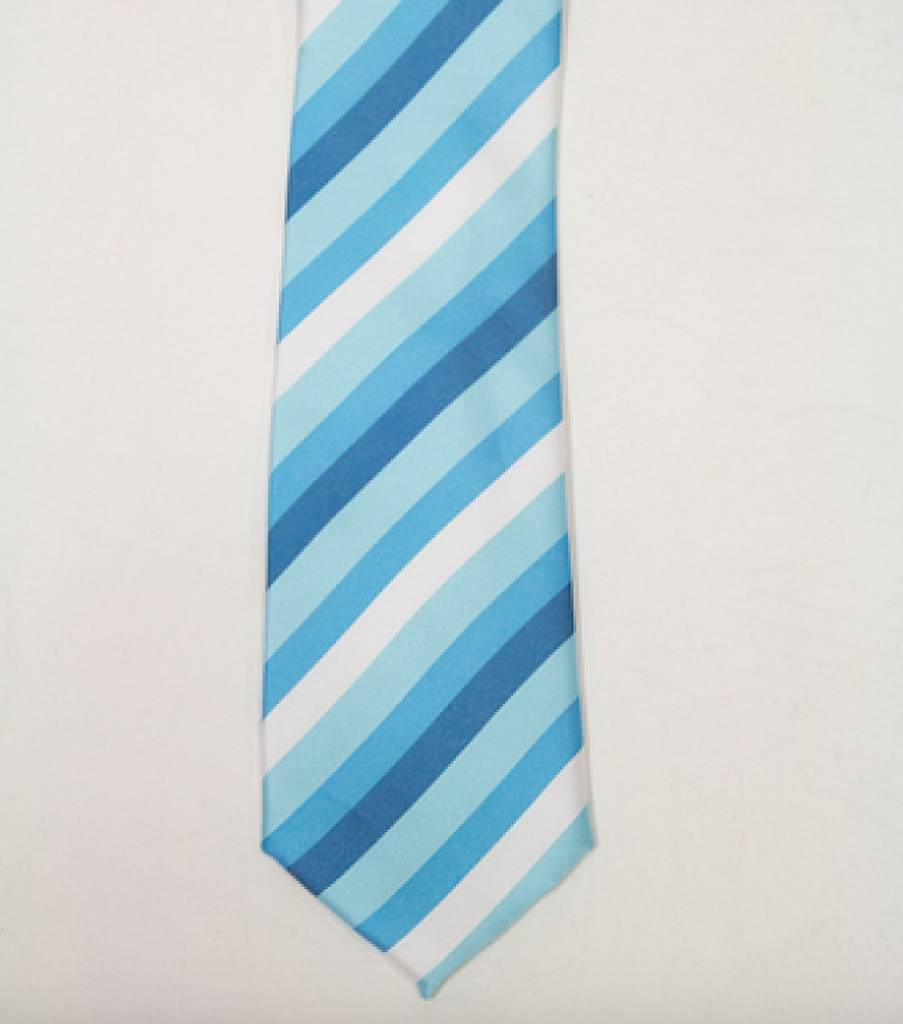 Robbins & Brooks Polyester Pocket Tie- White, Light Blue & Aqua Stripes