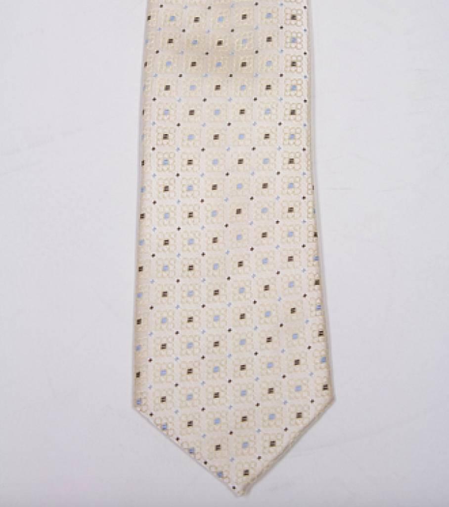 Robbins & Brooks Polyester Pocket Tie- Yellow Pattern Design
