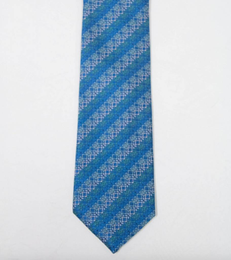 Robbins & Brooks Polyester Pocket Tie- Aqua & Green Floral Design