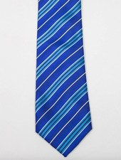 Robbins & Brooks Polyester Pocket Tie- Blue, Navy & Thin White Stripes