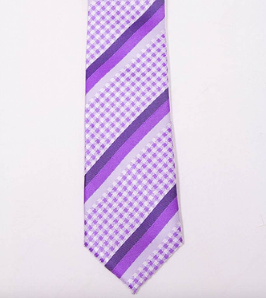Robbins & Brooks Polyester Pocket Tie- Purple Checked Pattern