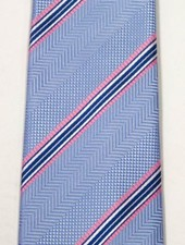 Robbins & Brooks Polyester Pocket Tie- Blue Herringbone Pattern with Stripes