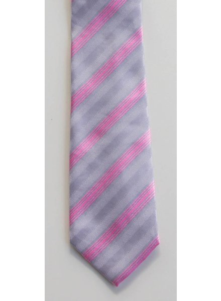 Robbins & Brooks Polyester Pocket Tie- Grey & Pink Stripes