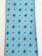Robbins & Brooks Polyester Pocket Tie- Green Design with Cyan Flower